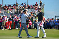 Sung Kang (USA) is congratulated by Scott Piercy (USA) after winning the AT&T Byron Nelson, Trinity Forest Golf Club, Dallas, Texas, USA. 5/12/2019.<br /> Picture: Golffile   Ken Murray<br /> <br /> <br /> All photo usage must carry mandatory copyright credit (© Golffile   Ken Murray)