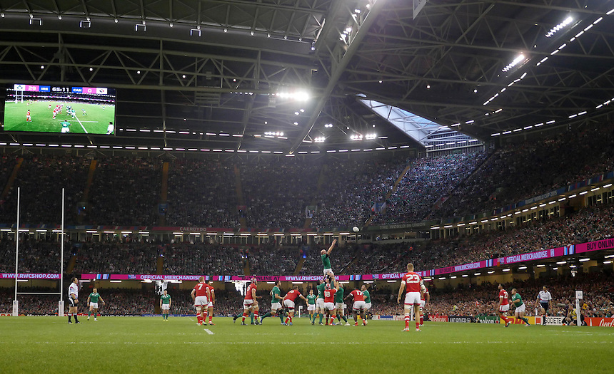Ireland's Paul O'Connell (c) wins the line out <br /> <br /> Photographer Ian Cook/CameraSport<br /> <br /> Rugby Union - 2015 Rugby World Cup - Canada v Ireland - Saturday 19th September 2015 - Millennium Stadium - Cardiff<br /> <br /> &copy; CameraSport - 43 Linden Ave. Countesthorpe. Leicester. England. LE8 5PG - Tel: +44 (0) 116 277 4147 - admin@camerasport.com - www.camerasport.com