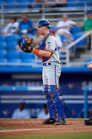 St. Lucie Mets catcher Dan Rizzie (7) during a game against the Dunedin Blue Jays on April 19, 2017 at Florida Auto Exchange Stadium in Dunedin, Florida.  Dunedin defeated St. Lucie 9-1.  (Mike Janes/Four Seam Images)