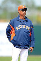 Houston Astros coach Dennis Martinez #37 during a Spring Training game against the St. Louis Cardinals at Osceola County Stadium on March 1, 2013 in Kissimmee, Florida.  The game ended in a tie at 8-8.  (Mike Janes/Four Seam Images)