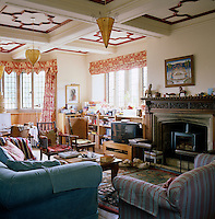 The living room at Asthall Manor, once the home of the Mitford family, is now owned by Rosie Pearson who has completely restored the house