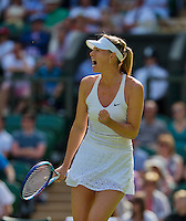 England, London, June 29, 2015, Tennis, Wimbledon, Maria Sharapova (RUS) jubilates<br /> Photo: Tennisimages/Henk Koster