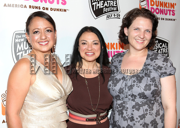 Natalie Toro(Senora Espejo), Julie Miller(General Manager) & Elizabeth Lucas(Director).backstage at the New York Musical Theatre Festival at the NYMF Hub in Times Square, New York on 7/3/2012.