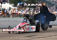 Aug 16, 2014; Brainerd, MN, USA; NHRA top fuel dragster driver Steve Torrence during qualifying for the Lucas Oil Nationals at Brainerd International Raceway. Mandatory Credit: Mark J. Rebilas-