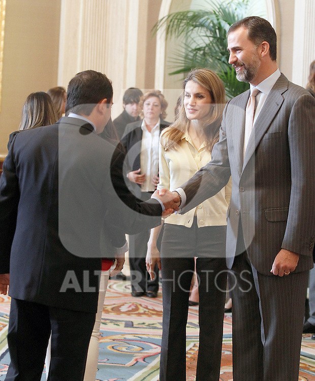 "Princes Felipe and Letizia of Spain attend in audience a representation of ""Prado de Santo Domingo"" High Scholl of Alcorcon.May 22 ,2012. (ALTERPHOTOS/Acero)"