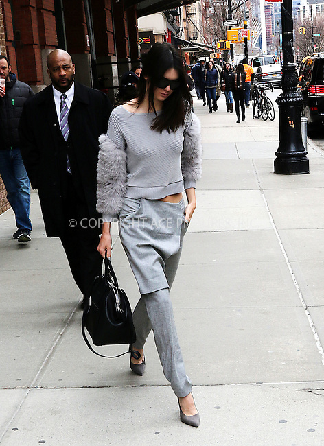 WWW.ACEPIXS.COM<br /> <br /> March 31 2015, New York City<br /> <br /> Model Kendall Jenner leaves a downtown hotel on March 31 2015 in New York City<br /> <br /> By Line: Zelig Shaul/ACE Pictures<br /> <br /> <br /> ACE Pictures, Inc.<br /> tel: 646 769 0430<br /> Email: info@acepixs.com<br /> www.acepixs.com
