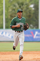 Augusta GreenJackets outfielder Johneshwy Fargas (17) during a game against the Charleston Riverdogs at Joseph P.Riley Jr. Ballpark on April 15, 2015 in Charleston, South Carolina. Charleston defeated Augusta 8-0. (Robert Gurganus/Four Seam Images)