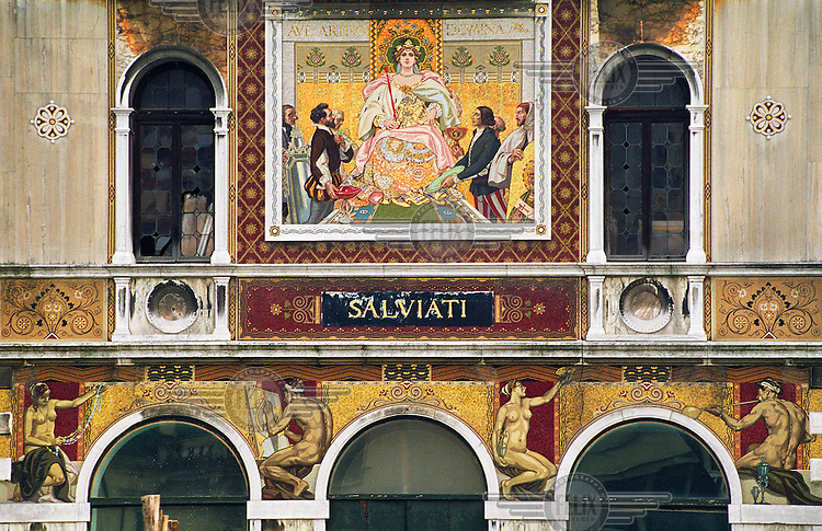 The facade of the Palazzo Salviati, the former headquarters of the Salviati glass-producing company, along the Grand Canal.  Otherwise known as Canalazzo, the Grand Canal is the main waterway which runs through the heart of the city. .