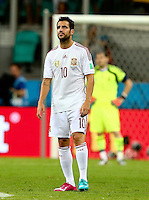 Cesc Fabregas of Spain shows a look of dejection