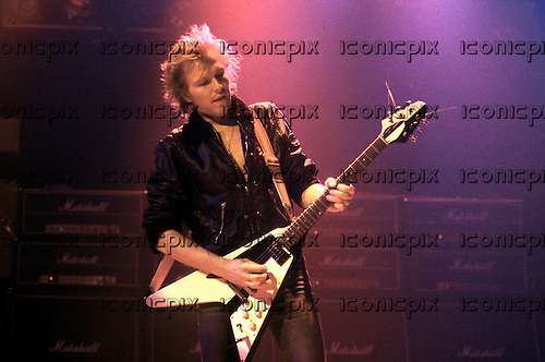 MSG - Michael Schenker Group - guitarist Michael Schenker performing live at the Odeon Hammersmith in London UK - 22 Oct 1983.  Photo credit: George Chin/IconicPix