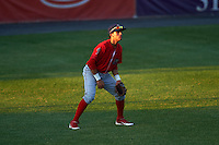 Williamsport Crosscutters left fielder Enmanuel Garcia (15) during a game against the Auburn Doubledays on June 25, 2016 at Falcon Park in Auburn, New York.  Auburn defeated Williamsport 5-4.  (Mike Janes/Four Seam Images)