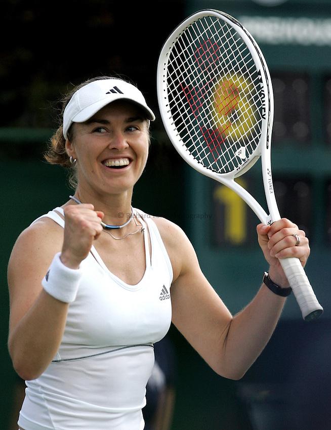 Photo: Paul Thomas..Wimbledon Championships. 27/06/2007...Martina Hingis (SUI) celebrates winning her match against Aiko Nakamura of Japan.