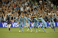 Sporting KC players celebrate at the conclusion of penalty kicks..Sporting Kansas City defeated Seattle Sounders on penalty kicks, after a 1-1 tied game to win the Lamar Hunt Open Cup at LIVESTRONG Sporting Park, Kansas City, Kansas..
