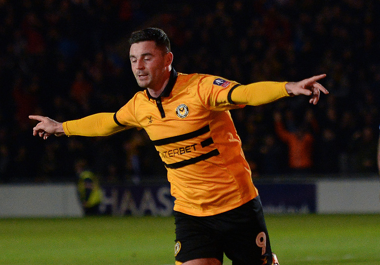 Newport County's Padraig Amond celebrates scoring his side's second goal <br /> <br /> Photographer Ian Cook/CameraSport<br /> <br /> The Emirates FA Cup Third Round - Newport County v Leicester City - Sunday 6th January 2019 - Rodney Parade - Newport<br />  <br /> World Copyright &copy; 2019 CameraSport. All rights reserved. 43 Linden Ave. Countesthorpe. Leicester. England. LE8 5PG - Tel: +44 (0) 116 277 4147 - admin@camerasport.com - www.camerasport.com
