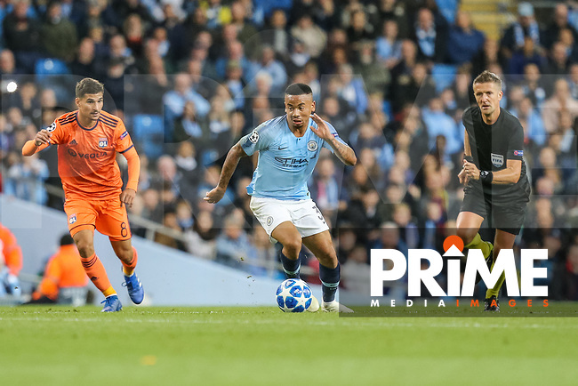 Gabriel JESUS of Manchester City (centre) during the UEFA Champions League match between Manchester City and Olympique Lyonnais at the Etihad Stadium, Manchester, England on 19 September 2018. Photo by David Horn / PRiME Media Images.