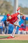 6 March 2019: Philadelphia Phillies pitcher Vince Velasquez on the mound during a Spring Training game against the Toronto Blue Jays at Dunedin Stadium in Dunedin, Florida. The Blue Jays defeated the Phillies 9-7 in Grapefruit League play. Mandatory Credit: Ed Wolfstein Photo *** RAW (NEF) Image File Available ***