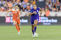 Toni Pressley (3) of the Orlando Pride brings the ball up the field with Janine Beckie (11) of the Houston Dash in pursuit on Friday, May 20, 2016 at BBVA Compass Stadium in Houston Texas. The Orlando Pride defeated the Houston Dash 1-0.