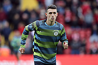 Manchester City's Phil Foden during the pre-match warm-up <br /> <br /> Photographer Rich Linley/CameraSport<br /> <br /> The Premier League - Liverpool v Manchester City - Sunday 7th October 2018 - Anfield - Liverpool<br /> <br /> World Copyright &copy; 2018 CameraSport. All rights reserved. 43 Linden Ave. Countesthorpe. Leicester. England. LE8 5PG - Tel: +44 (0) 116 277 4147 - admin@camerasport.com - www.camerasport.com