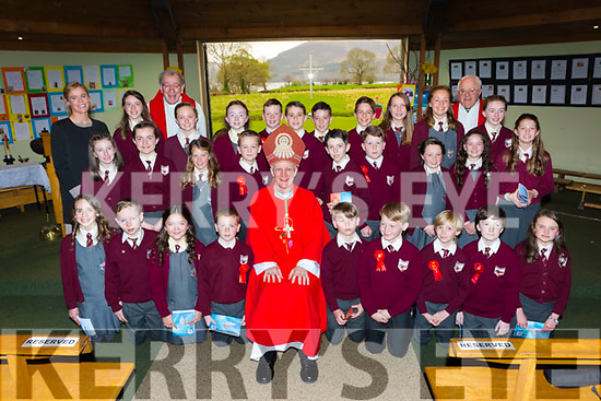 Mrs Brigid Murphy Fossa NS fifth class at their Confirmation with Bishop Ray Browne, Fr Harrington and Fr Looney in the Prince of Peace church Fossa on Tuesday