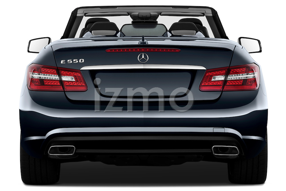 Straight rear view of a 2011 Mercedes E 550 Convertible