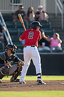 Michael Danner (2) of the Kannapolis Intimidators at bat against the Asheville Tourists at Intimidators Stadium on June 28, 2015 in Kannapolis, North Carolina.  The Tourists defeated the Intimidators 6-4.  (Brian Westerholt/Four Seam Images)