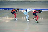 SCHAATSEN: HEERENVEEN: 24-06-2014, IJsstadion Thialf, Zomerijs training, Christijn groeneveld, Bart Swings, Koen Verweij, ©foto Martin de Jong