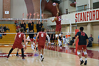 STANFORD, CA - December 30, 2017: Jaylen Jasper, Eric Beatty, Russell Dervay at Burnham Pavilion. The Stanford Cardinal defeated the Calgary Dinos 3-1.