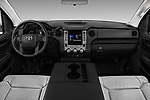 Stock photo of straight dashboard view of a 2018 Toyota Tundra SR 4.6L Double Cab Standard Bed 4 Door Pick Up