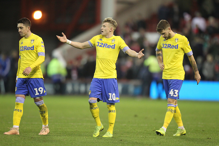 Leeds United's players look dejected<br /> <br /> Photographer Mick Walker/CameraSport<br /> <br /> The EFL Sky Bet Championship - Nottingham Forest v Leeds United - Tuesday 1st January 2019 - The City Ground - Nottingham<br /> <br /> World Copyright © 2019 CameraSport. All rights reserved. 43 Linden Ave. Countesthorpe. Leicester. England. LE8 5PG - Tel: +44 (0) 116 277 4147 - admin@camerasport.com - www.camerasport.com