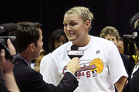 BERKELEY, CA - MARCH 30: Jayne Appel interviewed by ESPN following Stanford's 74-53 win against the Iowa State Cyclones on March 30, 2009 at Haas Pavilion in Berkeley, California.