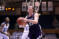 DURHAM, NC - NOVEMBER 17: Abbie Wolf #21 of Northwestern University takes a layup during a game between Northwestern University and Duke University at Cameron Indoor Stadium on November 17, 2019 in Durham, North Carolina.
