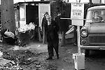 """Winter of Discontent"" London. General and Municipal Workers Union Official Strike. Picket line at refuse dump, Wandsworth south London. 1978, driver turned away."