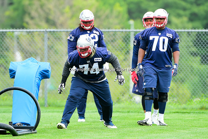 June 7, 2017: New England Patriots defensive lineman Woodrow Hamilton (74) works with a tackle dummy at the New England Patriots mini camp held on the practice field at Gillette Stadium, in Foxborough, Massachusetts. Eric Canha/CSM