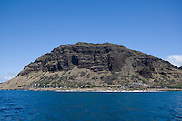 Mountain & blue ocean on West Oahu, Hawaii