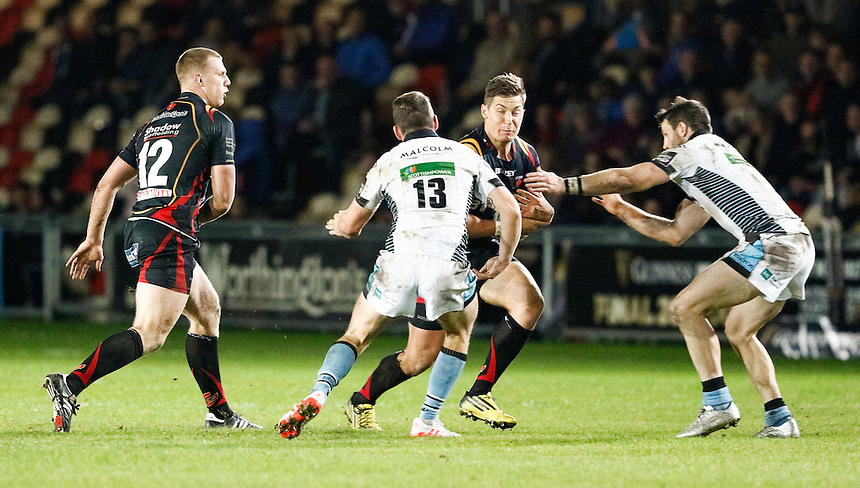 Carl Meyer of Newport Gwent Dragons under pressure from Alex Dunbar of Glasgow Warriors<br /> <br /> Photographer Simon King/CameraSport<br /> <br /> Guinness PRO12 Round 5 - Newport Gwent Dragons v Glasgow Warriors - Friday 30th September 2016 - Rodney Parade - Newport<br /> <br /> World Copyright &copy; 2016 CameraSport. All rights reserved. 43 Linden Ave. Countesthorpe. Leicester. England. LE8 5PG - Tel: +44 (0) 116 277 4147 - admin@camerasport.com - www.camerasport.com