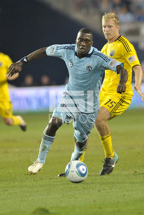 C.J Sapong (17) forward Sporting KC in action... Sporting Kansas City defeated Columbus Crew 2-1 at LIVESTRONG Sporting Park, Kansas City, Kansas.