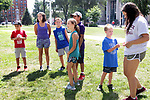 WATERBURY CT. - 05 August 2020-080520SV05-Kids from the YMCA play a game on the green in Waterbury Wednesday. They are participating in the Race4Chase kids triathlon camp.<br /> Steven Valenti Republican-American