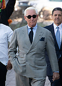 Former adviser to United States President Donald J. Trump, Roger Stone, walks towards the US District Court in Washington, DC on Thursday, March 14, 2019. <br /> Credit: Ron Sachs / CNP<br /> (RESTRICTION: NO New York or New Jersey Newspapers or newspapers within a 75 mile radius of New York City)