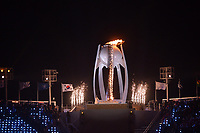 OLYMPIC GAMES: PYEONGCHANG: 09-02-2018, PyeongChang Olympic Stadium, Olympic Games, Opening Ceremony, Yuna Kim (Korean Figure Skater) lights the Olympic Flame, ©photo Martin de Jong