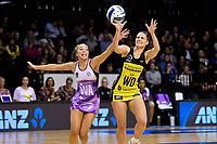 Pulse&rsquo; Karin Burger and Stars&rsquo; Mila Reuelu-Buchanan in action during the ANZ Premiership - Pulse v Stars at TSB Arena, Wellington, New Zealand on Monday 13 May 2019. <br /> Photo by Masanori Udagawa. <br /> www.photowellington.photoshelter.com