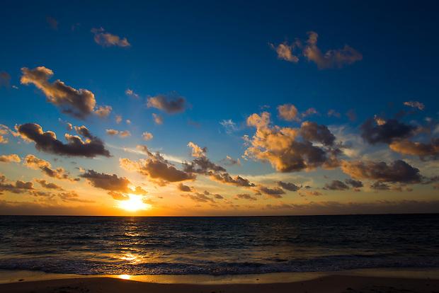 Sunrise over the Caribbean Sea near Playa del Carmen, Mexico.