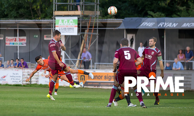 Luke O'Nien of Wycombe Wanderers hits a shot at goal during the 2018/19 Pre Season Friendly match between Chesham United and Wycombe Wanderers at the Meadow , Chesham, England on 24 July 2018. Photo by Andy Rowland.