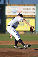 Oliver Jaskie (46) of the Everett AquaSox pitches against the Boise Hawks at Everett Memorial Stadium on July 20, 2017 in Everett, Washington. Everett defeated Boise, 13-11. (Larry Goren/Four Seam Images)