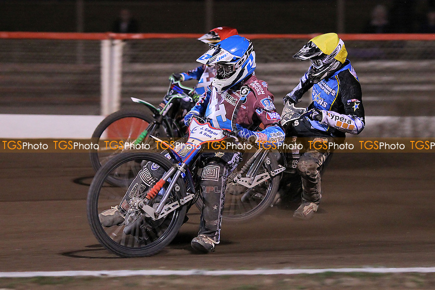 Heat 14: Lewis Bridger (red), Richard Lawson (blue) and Richie Worrall - Vortex Lakeside Hammers vs Kings Lynn Stars - Sky Sports Elite League Speedway at Arena Essex Raceway, Purfleet - 23/04/13 - MANDATORY CREDIT: Gavin Ellis/TGSPHOTO - Self billing applies where appropriate - 0845 094 6026 - contact@tgsphoto.co.uk - NO UNPAID USE.