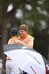 HOWEY IN THE HILLS, FL - MAY 19: Josh Gibson of Hope College celebrates his individual title during the Division III Men's Golf Championship held at the Mission Inn Resort and Club on May 19, 2017 in Howey In The Hills, Florida. (Photo by Cy Cyr/NCAA Photos via Getty Images)
