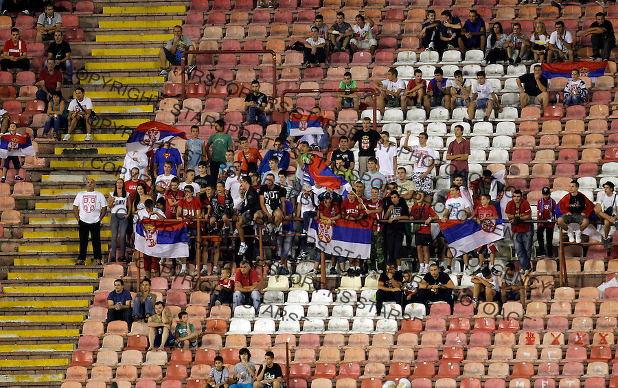 BELGRADE, SERBIA - AUGUST 15: Supporters of Srbian national football team during the football International friendly match between Serbia and Republic of Ireland at Red Star stadium on August 15, 2012 in Belgrade, Serbia.(credit: Pedja Milosavljevic/thepedja@gmail.com/+381641260959)