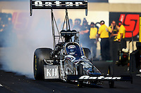 Oct 5, 2013; Mohnton, PA, USA; NHRA top fuel dragster driver Shawn Langdon during qualifying for the Auto Plus Nationals at Maple Grove Raceway. Mandatory Credit: Mark J. Rebilas-