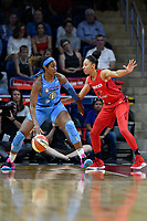 Washington, DC - September 8, 2019: Chicago Sky forward Cheyenne Parker (32) is defended by Washington Mystics forward Aerial Powers (23) during game between the Chicago Sky and Washington Mystics at the Entertainment and Sports Arena in Washington, DC. The Mystics locked up the #1 seed in the Playoffs by defeating the Sky 100-86. (Photo by Phil Peters/Media Images International)