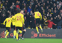 1st January 2020; Vicarage Road, Watford, Hertfordshire, England; English Premier League Football, Watford versus Wolverhampton Wanderers; Abdoulaye Doucoure of Watford celebrates scoring in 48th minute for 2-0 - Strictly Editorial Use Only. No use with unauthorized audio, video, data, fixture lists, club/league logos or 'live' services. Online in-match use limited to 120 images, no video emulation. No use in betting, games or single club/league/player publications