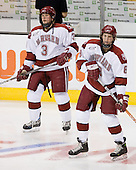 Alex Biega (Harvard - 3), Ian Tallett (Harvard - 8) - The Northeastern University Huskies defeated the Harvard University Crimson 3-1 in the Beanpot consolation game on Monday, February 12, 2007, at TD Banknorth Garden in Boston, Massachusetts.